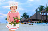 Little girl in a sea suit — Stock Photo