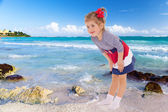 Girl resting on the beach. — Stock Photo