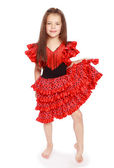 Girl in a bright red dress. — Stock Photo