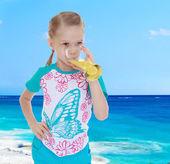 Girl with juice — Stock Photo