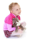 Girl with rabbit — Stock Photo
