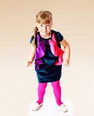 Meisje in een blauwe jurk — Stockfoto