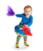 Cheerful little girl waving — Foto Stock