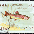 "LEBANON - CIRCA 1967: A stamp printed in Lebanon from the ""Animals and Fishes"" issue shows a Rainbow trout fish, circa 1967. — Stock Photo"