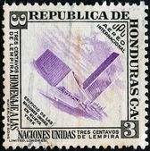 Honduras - około 1953: znaczek wydrukowany w hondurasie wydane na cześć narodów zjednoczonych pokazuje onz budynku, nowy jork, około 1953. — Zdjęcie stockowe