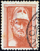 """GREECE - CIRCA 1954: A stamp printed in Greece from the """"Ancient Greek Art"""" issue shows bust of Pericles, circa 1954. — Stock Photo"""