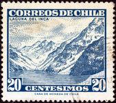 CHILE - CIRCA 1960: A stamp printed in Chile shows Inca lake, circa 1960. — Stock Photo