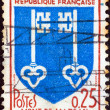 "Stock Photo: FRANCE - CIRC1966: stamp printed in France from ""Arms of French Towns 6th Series"" issue shows Mont-de-Marscoat of Arms, circ1966."