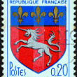 "Stock Photo: FRANCE - CIRC1966: stamp printed in France from ""Arms of French Towns 6th Series"" issue shows Saint-Lo coat of Arms, circ1966."