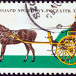 "POLAND - CIRC1965: stamp printed in Poland from ""Horse-drawn Carriages in Lancut Museum"" issue shows Gig, circ1965. — Stock Photo #12202461"