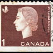 CANADA - CIRCA 1962: A stamp printed in Canada shows a portrait of Queen Elizabeth II and Crystals Mining symbol, circa 1962. — Stock Photo