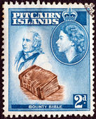 PITCAIRN ISLANDS - CIRCA 1957: A stamp printed in Pitcairn Islands shows John Adams, Bounty Bible and Queen Elizabeth II, circa 1957. — Stock Photo
