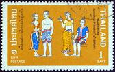 """Thailand - circa 1972: een stempel gedrukt in thailand uit de uitgifte van """"historische kostuums"""" geeft sukhothai periode (13-14de eeuw a.d.), omstreeks 1972. — Stockfoto"""