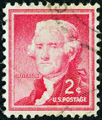 """Usa - circa 1954: un sello impreso en los e.e.u.u. de la edición de """"libertad"""" muestra el tercer presidente de los estados unidos thomas jefferson, circa 1954. — Foto de Stock"""