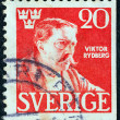 SWEDEN - CIRC1945: stamp printed in Sweden issued for 50th death anniversary of Viktor Rydberg shows author Viktor Rydberg (after A. Edelfelt), circ1945. — Foto de stock #12245104