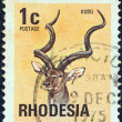 RHODESIA - CIRCA 1974: A stamp printed in Rhodesia from the &amp;quot;Antelopes&amp;quot; issue shows a Greater Kudu, circa 1974. - Stock Photo