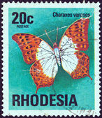 "RHODESIA - CIRCA 1974: A stamp printed in Rhodesia from the ""Butterflies"" issue shows a Charaxes varanes butterfly, circa 1974. — Stock Photo"