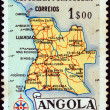 ANGOLA - CIRCA 1955: A stamp printed in Angola shows a map of Angola, circa 1955. — Stock Photo