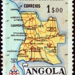 Постер, плакат: ANGOLA CIRCA 1955: A stamp printed in Angola shows a map of Angola circa 1955
