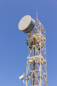 A Telecommunications tower equipped with microwave links — Foto Stock