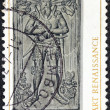 "LUXEMBOURG - CIRCA 1976: A stamp printed in Luxembourg from the ""Renaissance Art"" issue shows Bernard de Velbruck, Lord of Beaufort (funeral monument), circa 1976. — Stock Photo"