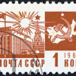"USSR - CIRC1966: stamp printed in USSR from ""Society and Technology"" issue shows Palace of Congresses, Kremlin and communism emblem with map, circ1966. — Stock Photo #12362341"
