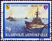 """GREECE - CIRCA 1999: A stamp printed in Greece from the """"Armed Forces"""" issue shows Destroyers, circa 1999. — Stock Photo"""