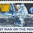 "USA - CIRCA 1969: A stamp printed in USA from the ""1st Man on the Moon"" issue shows Neil Armstrong setting foot on Moon, circa 1969. - Stock Photo"