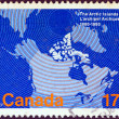 CANADA - CIRCA 1980: A stamp printed in Canada issued for the centenary of Arctic islands acquisition shows map of Arctic islands, circa 1980. — Stock Photo