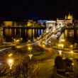 Chain bridge and St. Stephen night view, Budapest, Hungary — Stock Photo