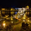 Chain bridge and St. Stephen night view, Budapest, Hungary — Stock Photo