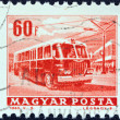 "HUNGARY - CIRCA 1963: A stamp printed in Hungary from the ""Transport and Communications"" issue shows a trolley bus, circa 1963. - Stock Photo"