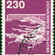 "GERMANY - CIRCA 1975: A stamp printed in Germany from the ""Industry and Technology"" issue shows Frankfurt Airport, circa 1975. — Stock Photo"