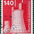 "GERMANY - CIRCA 1975: A stamp printed in Germany from the ""Industry and Technology"" issue shows a Power station, circa 1975. — Stock Photo"
