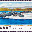 "GREECE - CIRCA 1978: A stamp printed in Greece from the ""Greek navy"" issue shows motor torpedo-boat ""Andromeda"", circa 1978. - Stock Photo"