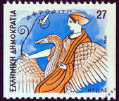 """GREECE - CIRCA 1986: A stamp printed in Greece from the """"Gods of Olympus"""" issue shows goddess Aphrodite, circa 1986. — Stock Photo"""