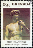 "GRENADA - CIRCA 1975: A stamp printed in Grenada issued for the 500th birth anniversary of Michelangelo shows ""David"" by Michelangelo, circa 1975. — Stock Photo"