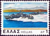 "GREECE - CIRCA 1978: A stamp printed in Greece from the ""Greek navy"" issue shows motor torpedo-boat ""Andromeda"", circa 1978. — Stock Photo"