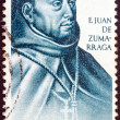 "SPAIN - CIRCA 1970: A stamp printed in Spain from the ""Explorers and Colonizers of America (10th series)"" issue shows the first archbishop of Mexico City Juan de Zumarraga, circa 1970. — Stock Photo"
