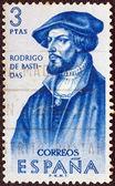 "SPAIN - CIRCA 1961: A stamp printed in Spain from the ""Explorers and Colonizers of America (1st series)"" issue shows conquistador and explorer Rodrigo de Bastidas, circa 1961. — Stock Photo"