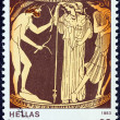 "GREECE - CIRCA 1983: A stamp printed in Greece from the ""Homeric epics"" issue shows Odysseus meeting Nausicaa, circa 1983. — Stock Photo"