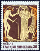 """GREECE - CIRCA 1983: A stamp printed in Greece from the """"Homeric epics"""" issue shows Odysseus meeting Nausicaa, circa 1983. — Stock Photo"""