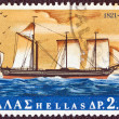 "GREECE - CIRCA 1971: A stamp printed in Greece shows ""Karteria"" warship from a painting by Hastings, circa 1971. — Stock Photo #12554182"