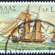 "GREECE - CIRCA 1971: A stamp printed in Greece shows ""Terpsichore"" warship from Hydra island, circa 1971. — Stock Photo #12554204"