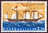 "GREECE - CIRCA 1971: A stamp printed in Greece shows ""Karteria"" warship from a painting by Hastings, circa 1971. — Stock Photo"