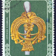 "Stock Photo: GREECE - CIRC1976: stamp printed in Greece from ""100 years from Mycenae excavations"" issue shows gold goddess head from silver pin, circ1976."