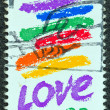 "USA - CIRCA 1985: A stamp printed in USA from the ""Love"" issue shows a brilliant rainbow painted on a natural gas tank along a Boston highway by Corita Kent, circa 1985. — Stock Photo"