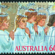 AUSTRALIA - CIRCA 1986: A stamp printed in Australia issued for Christmas shows five kids as Angels, circa 1986. — Stock Photo