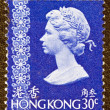 HONG KONG - CIRCA 1973: A stamp printed in Hong Kong shows Queen Elizabeth II, circa 1973. — Stock Photo #12630452