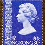 HONG KONG - CIRCA 1973: A stamp printed in Hong Kong shows Queen Elizabeth II, circa 1973. — Stock Photo